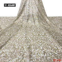 YF HZGJMY new latest Golden sequins lace fabric african embroidery glitter lace fabric french high quality for party dress A2136