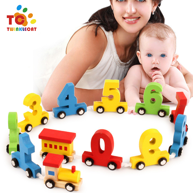 Baby Wooden Digital Train Early Childhood Education Building Blocks Puzzle Assembled Colored Baby Car Toy Early Learning Toys