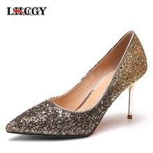 3b134beb6 Primavera Mulheres de Bling Sapatos de Salto Alto Brilho Bombas de Casamento  Sapatos De Noiva Prata