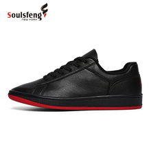 ФОТО soulsfeng men's sports shoes winter skate shoes knight style anti-skid superior cowhide leather walking shoes k170720