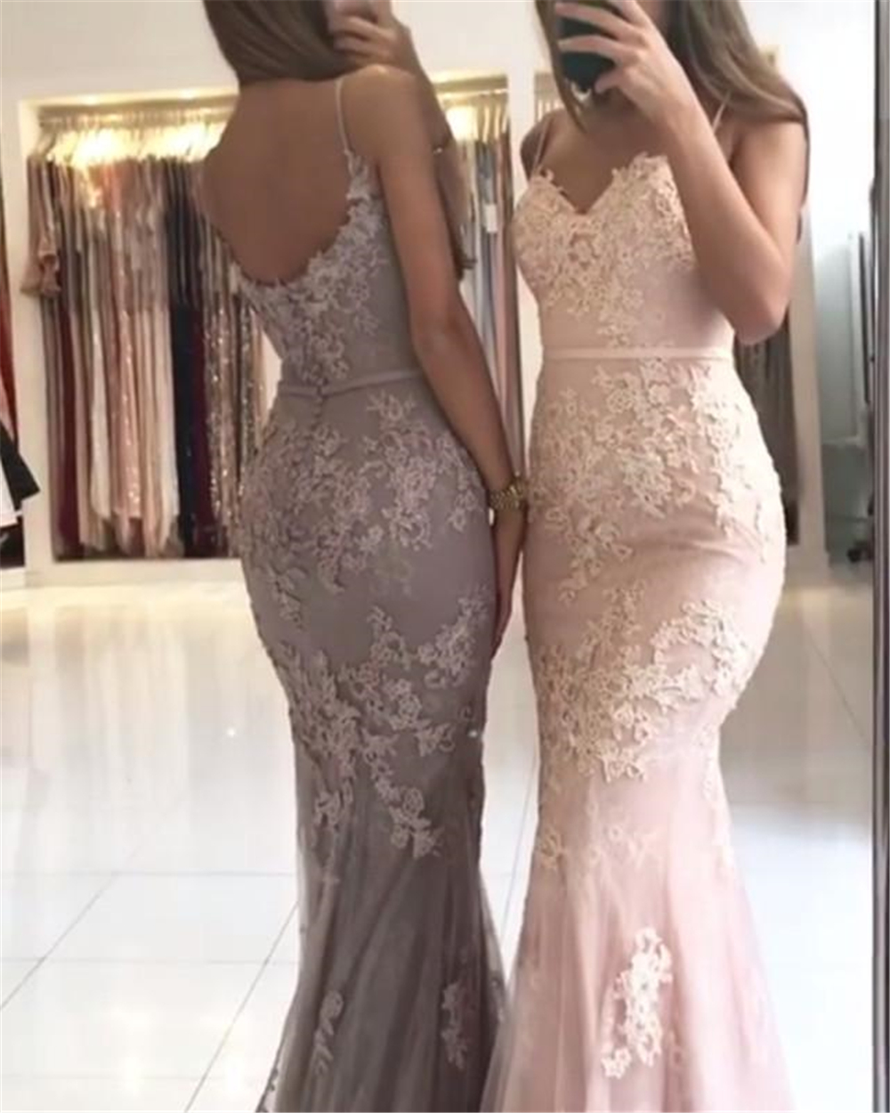 Sparkling Prom Dresses Handmade Spaghetti Straps Sheath Appliques Tulle Sweep Train Dropped Mermaid Prom Gowns Evening Dresses
