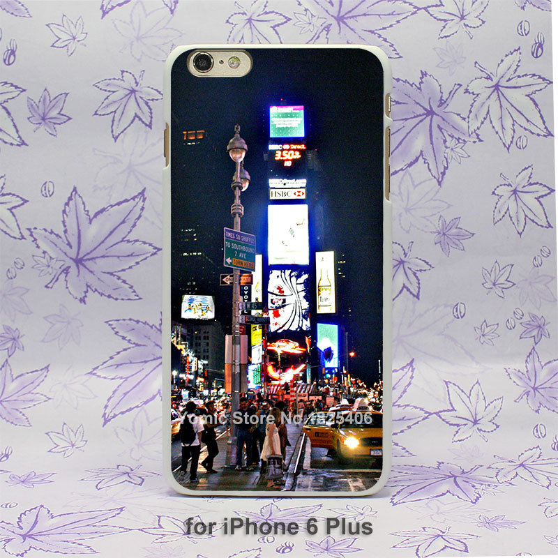 New York Times Square At Night Pattern hard White Skin Case Cover for iPhone 4 4s 4g 5 5s 5c 6 6s 6 Plus