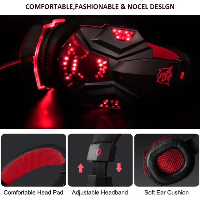 Magift Sound Effect Gaming Headset Stereo Headphones with Mic for Computer PC Laptop Gamer with LED Light Over Ear Glowing 4
