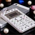 Caso de tpu aeku k8 tarjeta de teléfono móvil gsm 2g 6mm ultra delgada 0.96 pulgadas Mini Slim Teclado QWERTY Del Teléfono Celular de Tarjeta de bolsillo Niño Teléfono