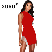 XURU summer new women's dress tassel sexy nightclub round neck dress fashion casual irregular dress round neck tassel long dress