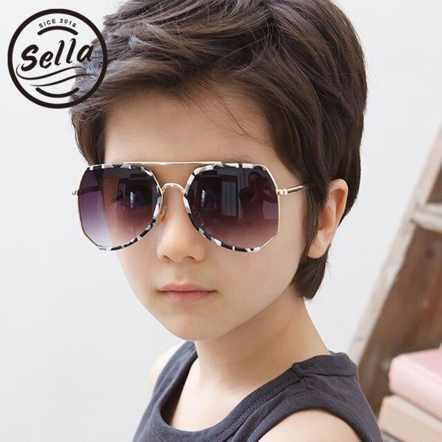 Sella Fashion Boys Girls Sunglasses High Quality Korean Style Kids Semi Rimless Frame Camouflage New