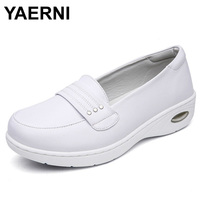 YAERNI Four Seasons Woman Pure White Nurse Shoes Women Platform Soft Comfortable Air Cushion Casual Genuine