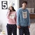 2017 Nova Outono/inverno conjuntos de pijama de flanela Amantes espessamento sleepwear Mulheres doces impressão Roupa Interior Casa Terno