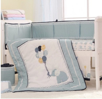 8 PCS High-end Blue Embroidery Elephant Baby Crib Bedding Set Bed Skirt baby bed Bumper 1