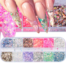 12 Colors Sparkly Shiny Nail Glitter Sequins 3D Holographic Flakes Mixed Colorful Mermaid Rhombus Paillette Nail Art Decor TRT 1