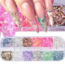 12 colores brillantes lentejuelas brillo de uñas 3D copos holográficos variados coloridos sirena rombos lentejuelas uñas artísticas decoración TRT 1