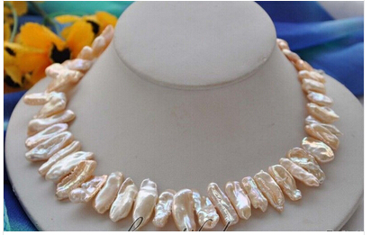 z4997 BEAUTIFUL 20mm pink dens biwa freshwater cultured pearl necklace 17inch Factory Wholesale price Women Giftword Jewelry