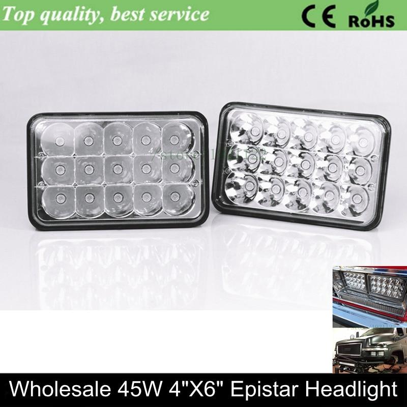 Semi truck led worklight 4 x 6 led sealed beam 45w 6x4 inch led headlight 4x6