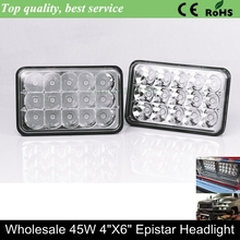 "Semi truck led worklight 4""x 6""led sealed beam 45w 6x4 inch led headlight,4x6"" led headlamp 6 inch12V led truck lights lamp"