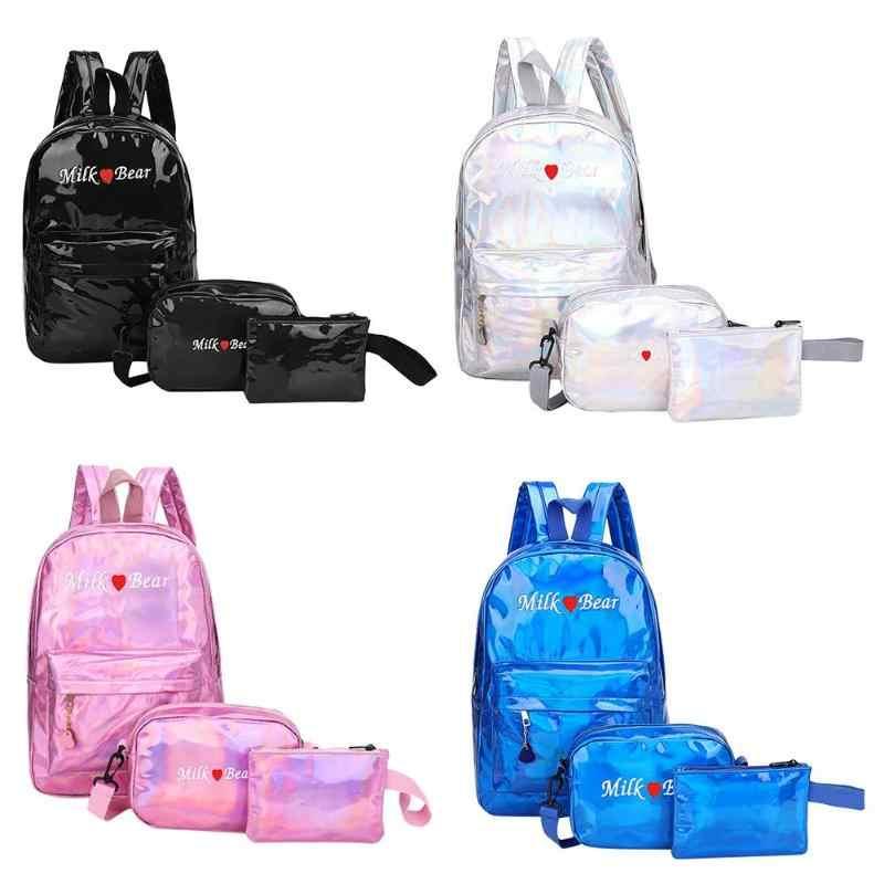 1 pc/3 pçs rua preppy saco para homens mulheres mochilas holograma laser zíper de couro do plutônio adolescentes meninos meninas escola ombro sacos de livro
