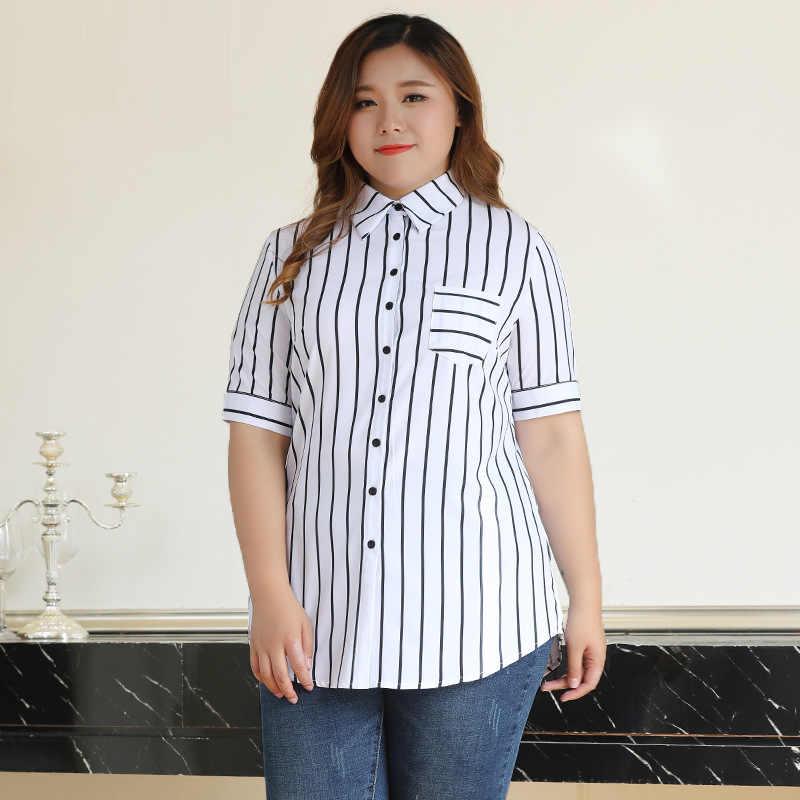 89d6e740b680 TUHAO лето для женщин полосатая блузка рубашка плюс размеры 10XL 8XL 6XL  Лето 2018 г. ...