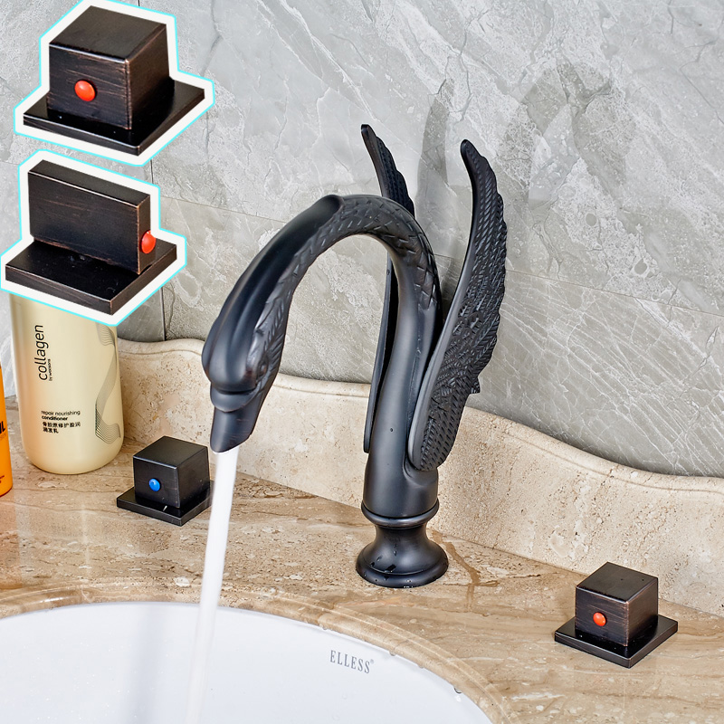 Swan Shape Widespread Two Wing Basin Faucet Oil Rubbed Bronze Mixer Tap for Bathroom Sink new oil rubbed bronze wide waterfall spout bathroom sink basin mixer faucet two handles widespread lavatory sink faucet