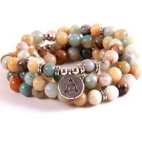 fd7bb12d5a29 Women Matte Amazonite 108 Mala Stone Beads Bracelets Lotus Buddha Ohm Charm  Yoga Bracelet Necklace High. Mujeres mate amazonita 108 Mala piedra pulseras  ...