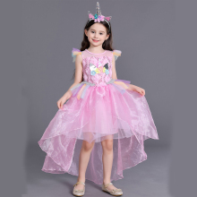 купить Unicorn Rainbow Dress Toddler Girl Party Dresses Kids Clothes Princess Tutu Dress for Girls Costume Children Summer Clothing дешево