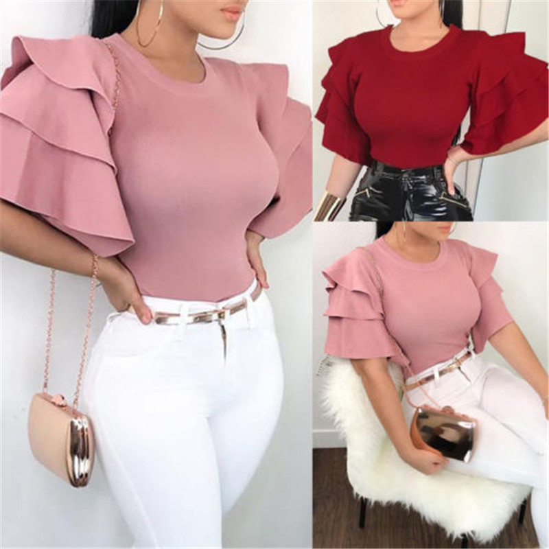 New Hot Sale 2018 Women Summer Blouse Plus Size Flare Sleeve Ruffles Blouses OL Work Solid Color Women Ladies Top Shirts