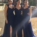 Nova Chegada Azul Marinho Longas Bridemaids Vestidos 2017 Side Dividir Ruffle Chiffon Lace Appliqued Prom Party Vestidos de Casamento Frisado