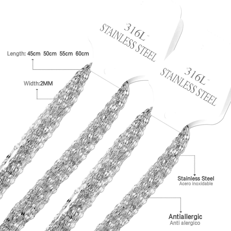 Luxusesteel cubana link chain 10 pçs/lote aço inoxidável 45 cm/50 cm/55 cm/60 cm ouro/prata correntes jóias pingentes