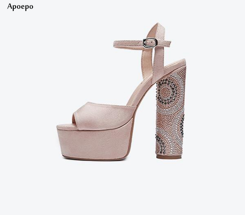 New Hot Selling Thick heels Sandal 2018 Sexy Open Toe Ankle Strap Shoes Crystal Embellisehd Platform Wedding Shoes
