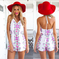 2016 top fashion women white flower print jumpsuit summer style V neck tank sexy rompers high quality sleeveless bodycon jumpers