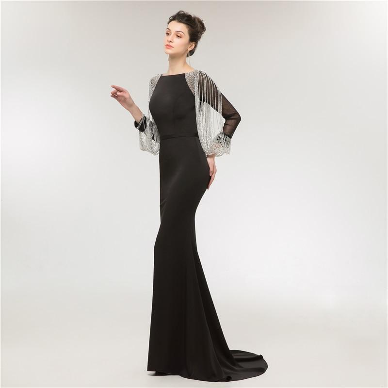 Jieruize Black Mermaid Evening Dresses Long 2018 Beaded Long Sleeves