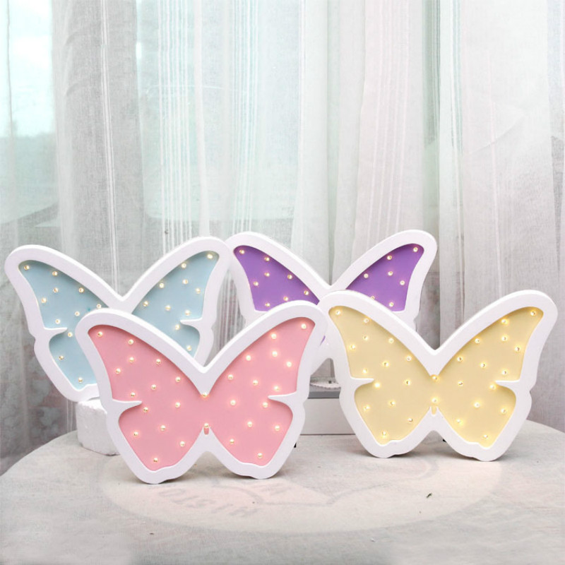 Cute Butterfly Decoration Lamp LED Night light Baby Girl room Decor Wood Modeling light Battery Powered IY304123-35
