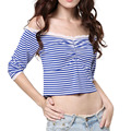 Off The Shoulder Women Tops Vogue Summer Blouse Feminine Half Sleeve With Lace Vertical Striped Blue Crop Blouse