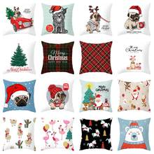 ZENGIA Christmas Cushion Cover Christmas Decorative Pillow case Pug Dog Throw Pillow Cover kerstmis navidad Bulldog Pillowcase(China)