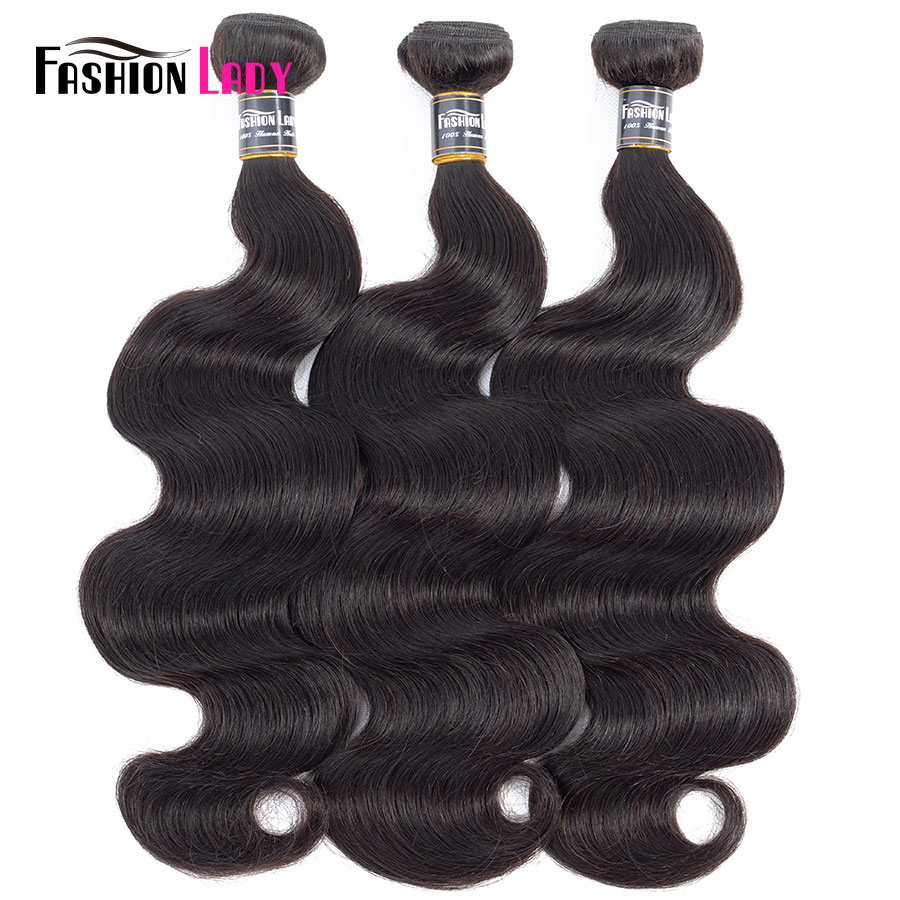 Fashion Lady Pre-Colored Indian Bodywave Bundles Human Hair Weave Natural Color 1b Hair Extensions 3/4 Bundle Per Pack Non-Remy