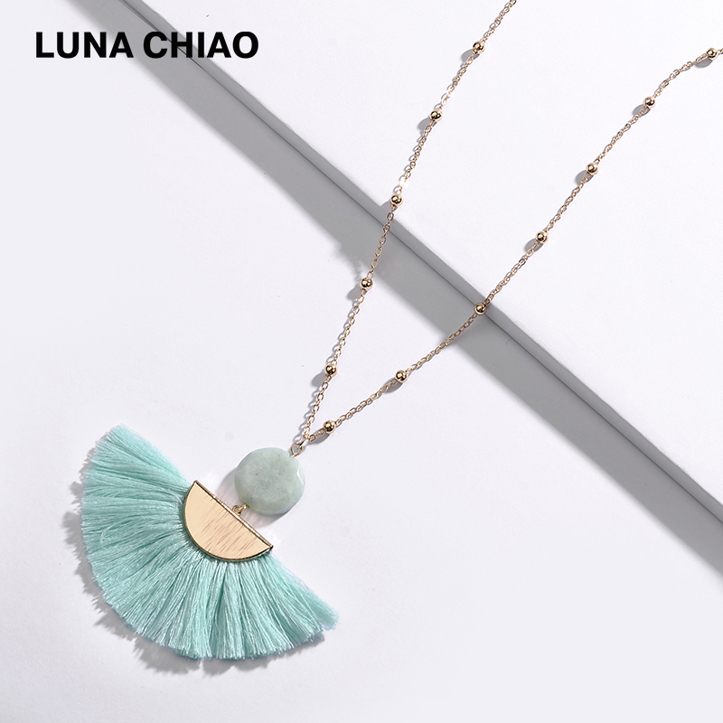 LUNA CHIAO Fashion INS popular Round Natural Stone Fan Fringed Cotton Tassel Necklaces Pendants for Women luna chiao fashion ins popular round natural stone fan fringed cotton tassel necklaces pendants for women