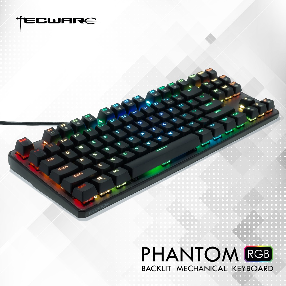 TECWARE Fantasma 87 Teclado Mecânico, RGB LED, Outemu Azul Interruptor, Interruptores Fornecidos Extra, Excelente para Gamers