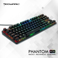 TECWARE Phantom 87 Mechanical Keyboard, RGB LED, Outemu Blue Switch,Extra Switches Provided, Excellent for Gamers