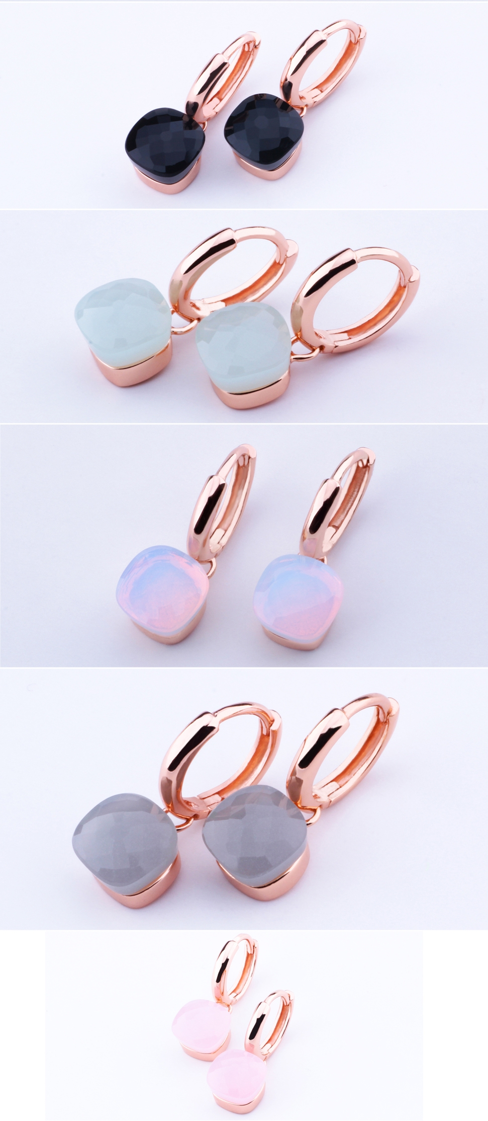 Elegant Topaz and Rose Gold Solid 925 Sterling Silver Earrings