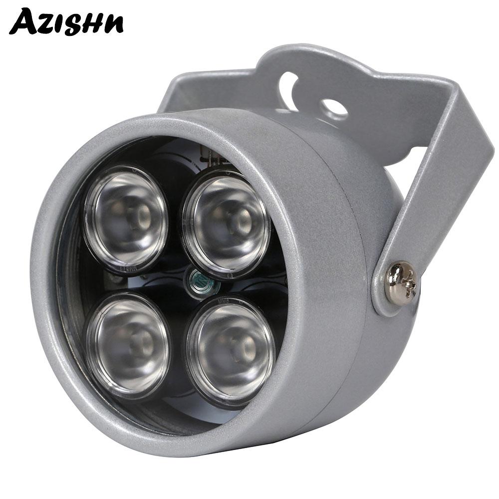 AZISHN IR illuminator Light 850nm 4 array LEDs Infrared Waterproof Night Vision CCTV Fill Light DC 12V For CCTV Security Camera
