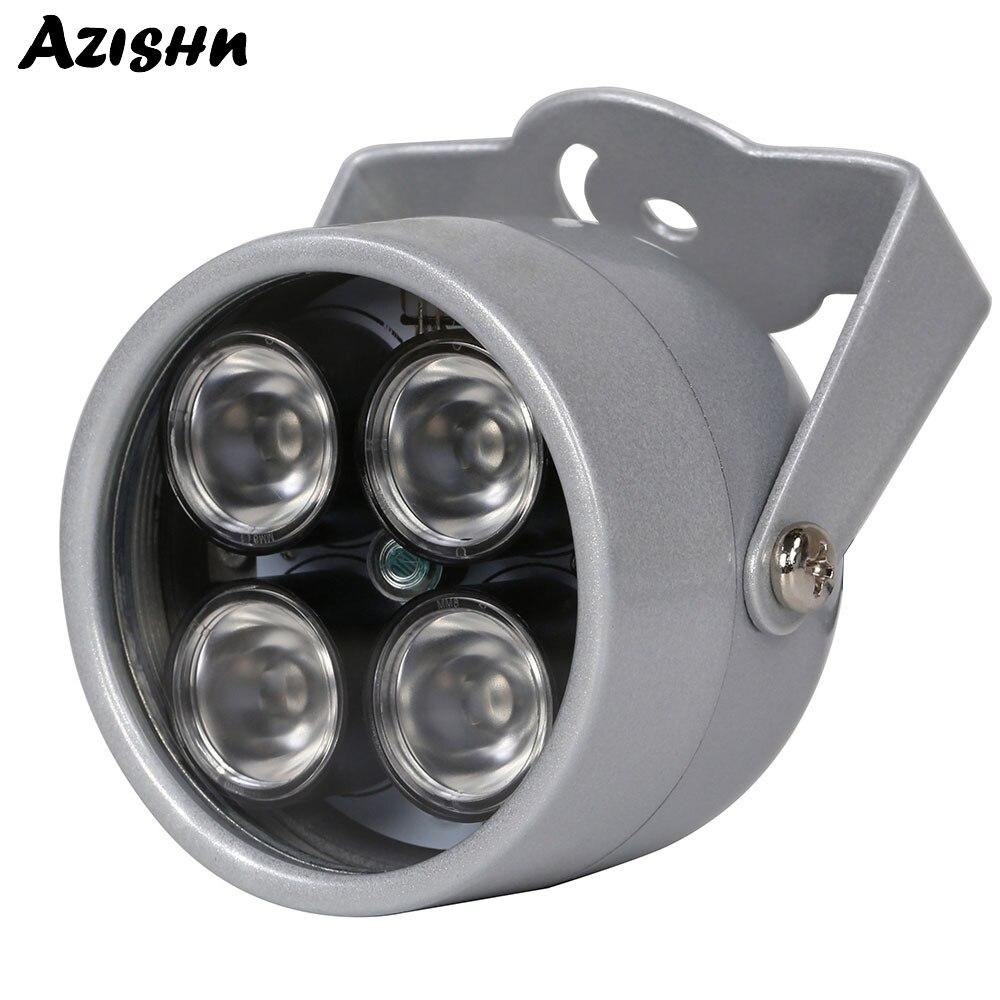 Luz do iluminador IR 850nm AZISHN 4 LEDs matriz CCTV Visão Noturna Luz de Preenchimento de Infravermelho À Prova D' Água DC 12V Para CCTV câmera de segurança