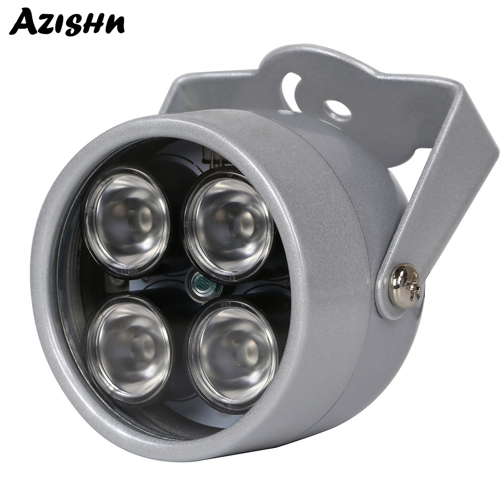 Luz impermeável infravermelha da suficiência do cctv da visão noturna dc 12 v para a câmera de segurança do cctv luz 850nm 4 leds da disposição do iluminador do ir de azishn