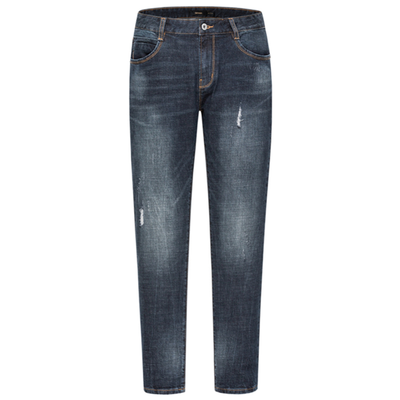 SEMIR Men Retro Slim Fit Cotton Jeans with Destruction Men's Classic Jeans Washed Denim Zip Fly with Button Streetwear