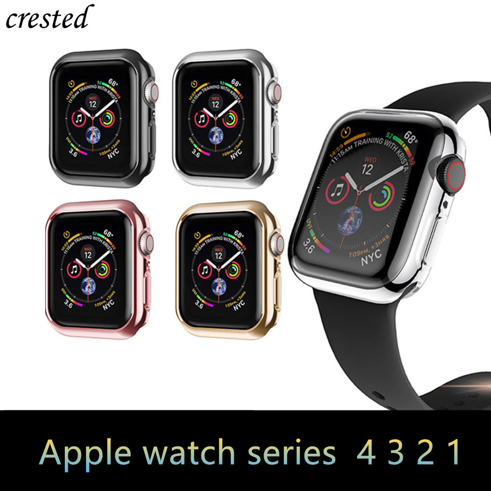 Cover For Apple Watch case 44mm 40mm 42mm 38mm Plated Bumper Screen Protector Apple watch series 5 <font><b>4</b></font> <font><b>3</b></font> <font><b>2</b></font> 38 40 44 mm Accessories image