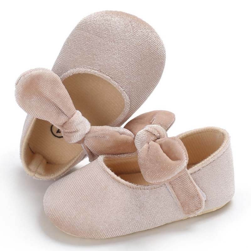 WEIXINBUY Baby Girl Soft Sole Flower Bow Newborn Shoes First Walkers Bowknot Toddler Prewalker 0-18M