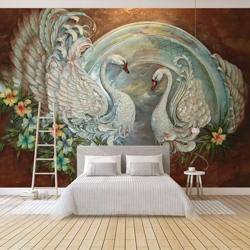Custom 3D Photo Wallpaper Bedroom Decor European Style Flowers Swan 3D Embossed TV Background Wall Decorative Mural Paintings
