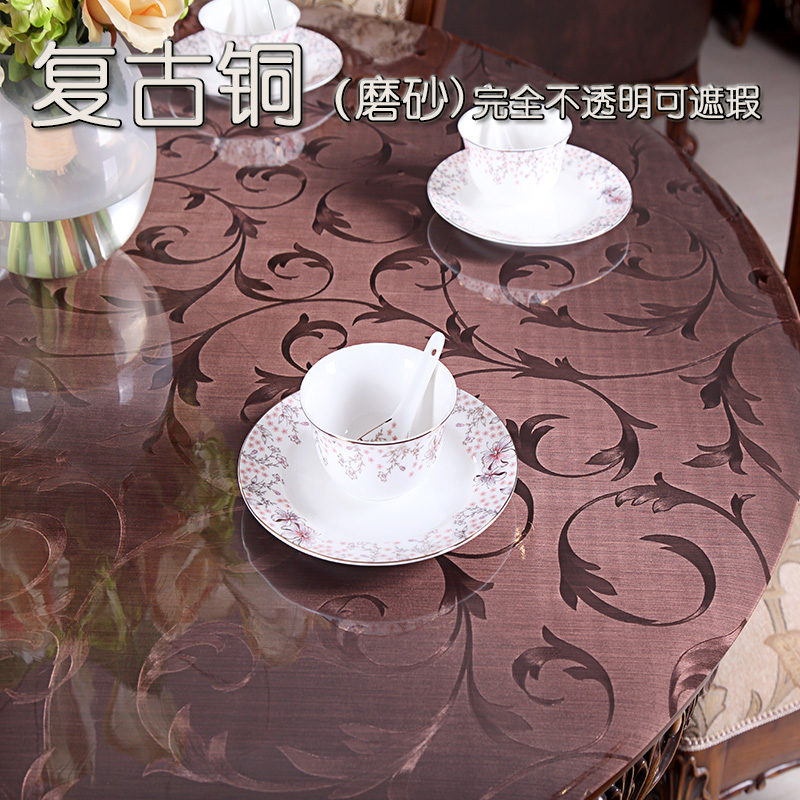 Купить с кэшбэком Soft glass round tablecloths Retro copper color PVC waterproof round tablecloth European dining table pad Coffee table mat