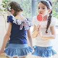 2016 New Baby Girl Clothing Set Cotton 2 Pcs Short Sleeve And Leggings With Skirt Children Girl Clothing Sets Kids Summer Sets