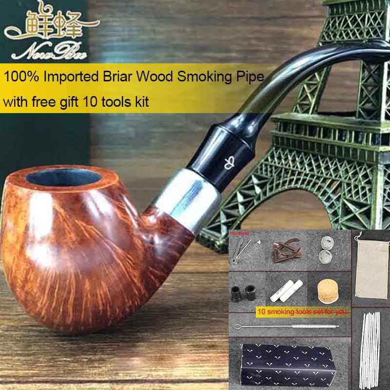 NewBee 10 Tools Kit Silver Loop Decoration Imported Briar Wood Handmade with 9mm filter Bent Smoking