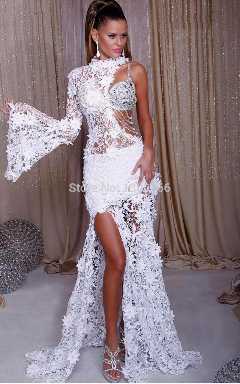 f03ec7ffc7d New 2015 High Quality White Lace Prom Dress Sheath One Shoulder Side Slit  Long Sleeve Beaded Luxury Crystal Evening Dresses-in Prom Dresses from  Weddings ...