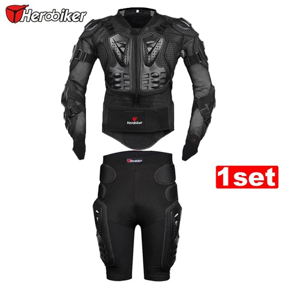 Free shipping 1set HEROBIKE Motorcycle Motorcross Racing Full Body Armor Spine Chest Gear Protective Jacket+Gears Short Pants herobiker black motorcycle racing body armor protective jacket gears short pants motorcycle knee protector moto gloves