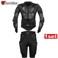 Free shipping 1set HEROBIKE Motorcycle Motorcross Racing Full Body Armor Spine Chest Gear Protective Jacket+Gears Short Pants